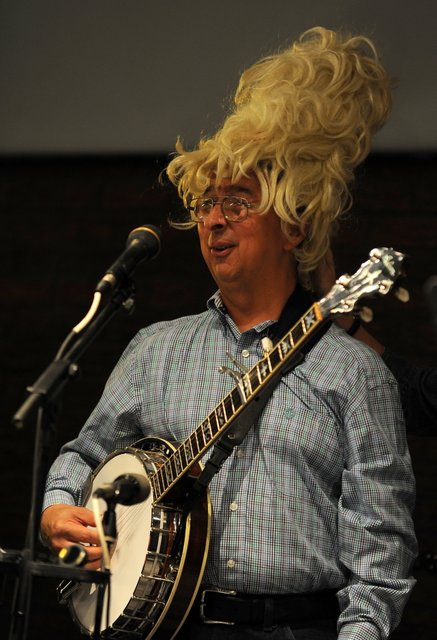 Ernie Martinez in a Dolly Parton wig
