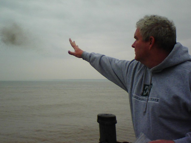 Dan Dalton spreading Terry Dalton's ashes on Lake Ontario
